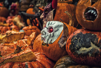 Self-carved pumpkins on the street as decoration for Halloween in Germany