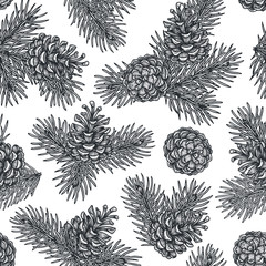 Hand draw engraving of a pine cone with cedar branches in a seamless pattern.