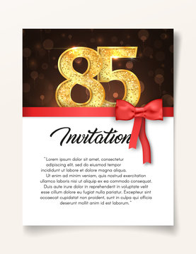 Wedding Invitation card template to the day of the eighty-five anniversary with abstract text vector illustration. Invite to 85 th years eve jubilee