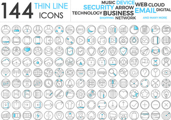 Wall Mural - Black and blue business thin line icons set on white background