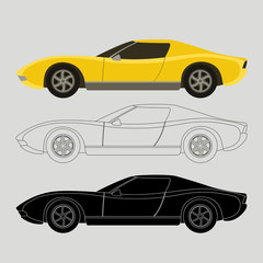 sports cars vector illustration flat style  profile side