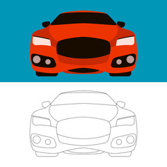 sports cars vector illustration flat style front