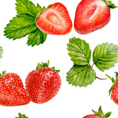 Strawberry seamless pattern watercolor illustration isolated on white.
