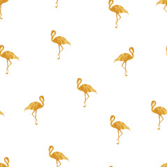 Seamless pattern with gold flamingo
