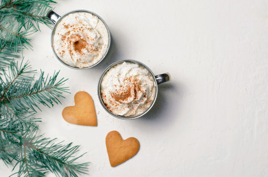 Hot Drink with Whipped Cream and Heart Shaped Cookies, Romantic Winter Concept