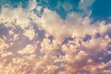 Beautiful clouds at sunset as a background or backdrop