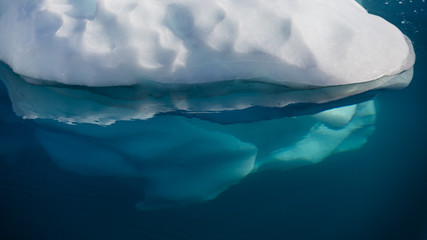 Arctic landscape with underwater closeup on iceberg floating on the sea