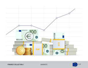 Growth graph with bundles of 100 Euro Banknotes and coins. Flat style vector illustration. Financial and economy concept.