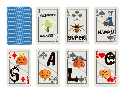 deck of playing cards on sale colorful halloween