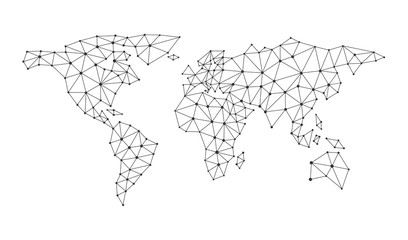 Vector polygonal abstract world map. Global network connection for print. file eps10