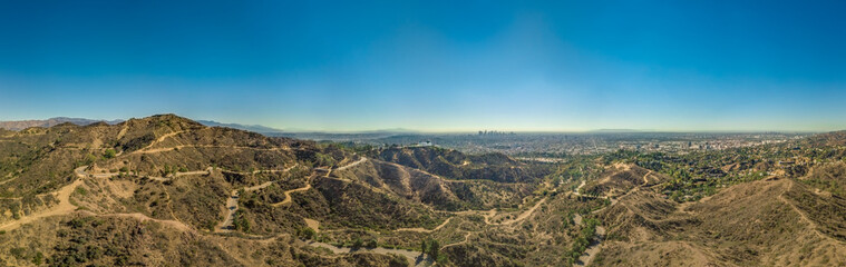 Panoramic view of Los Angeles and the Griffith Observatory as seen from the Hollywood hills