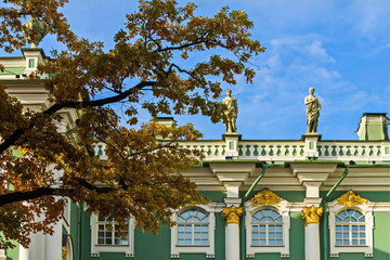The winter Palace is the main Imperial Palace of Russia. Fragment.  Elizabethan Baroque performed by Rastrelli.