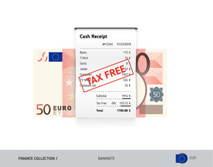 Receipt with 50 Euro Banknote. Flat style sales printed shopping paper bill with red tax free stamp. Shopping and sales concept.