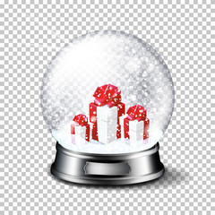 Wall Mural - Transparent realistic christmas ball, isolated.