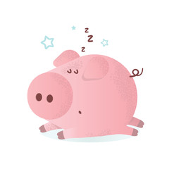 Vector illustration of a cute sleeping pink pig