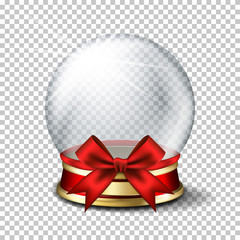 Realistic transparent snowball, isolated.