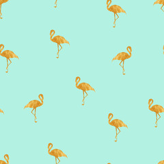 Seamless mint pattern with gold flamingo