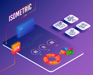 Isometric vector. Set of Timer, Business portfolio and Quiz test icons. Target sign. Stopwatch, Job interview, Interview. Targeting. Software or Financial markets. Analysis data. Isometric vector