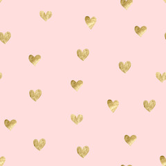 Seamless pink pattern with gold hearts