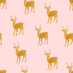 Seamless white pattern with gold deer