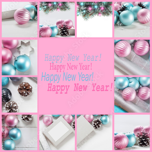 set of new year greeting cards collage