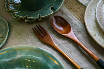 wooden spoon and fork on the table