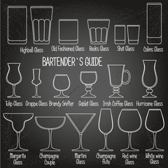 Drink glasses with titles, black and white icons set 1