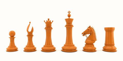 Wooden chess pieces on white background.