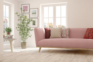 Idea of white minimalist room with pink sofa. Scandinavian interior design. 3D illustration