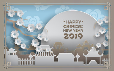 Chinese new year 2019. China town village, sky, sun, cherry flowers, blue background. Oriental pattern ornate frame. Banner, poster, greeting card design, paper cut out art style, vector illustration