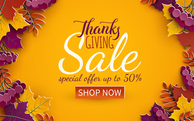 Thanksgiving day sale banner template. Autumn paper tree leaves, yellow background. Autumnal design for fall seasonal sale banner, advertising poster, flyer, paper cut out style, vector illustration
