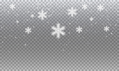 Fotomurales - Snow. Vector transparent realistic snow background. Christmas and New Year decoration.