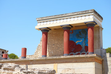The North Entrance of the Knossos Palace with bull fresco on a Crete island, Greece