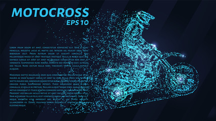 Motocross of blue glowing dots. Motorcyclist vector.