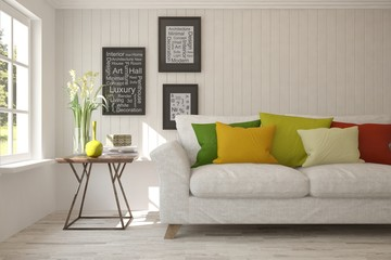 Idea of white minimalist room with colorful sofa . Scandinavian interior design. 3D illustration