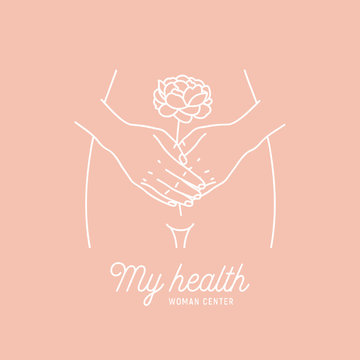 Woman health logotype. Intimate hygiene. Hands with the flower. Vector illustration