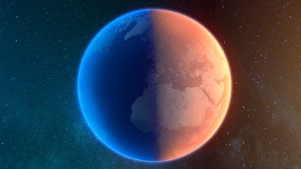 Artistic reconstruction of planet earth desertifying, transition from a blue oceanic planet to a desert red planet, climate changing., Some Elements furnished by NASA