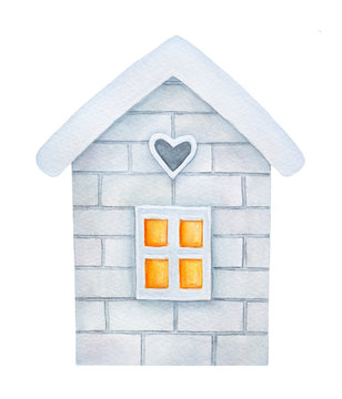 Little cosy house watercolour illustration. Winter time symbol. Hand drawn graphic painting, cutout clip art element for design and holiday decoration. Front view, frosty housetop, warm yellow window.