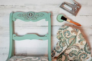 Refinishing a vintage chair with fresh paint and new fabric - DIY chair makeover Wall mural