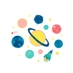 Simple set with planets in space. Vector illustration.