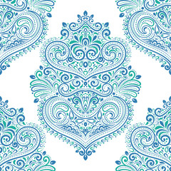 Beautiful blue and green floral seamless pattern. Vintage vector, paisley elements. Traditional,Turkish, Indian motifs. Great for fabric and textile, wallpaper, packaging or any desired idea.