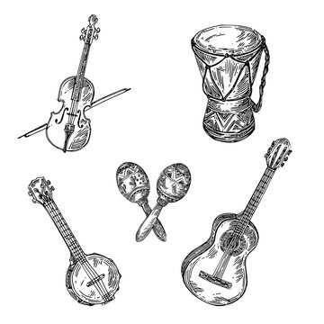 Set of musical instruments. Violin, maracas, guitar, banjo and drum. Sketch. Engraving style. Vector illustration.