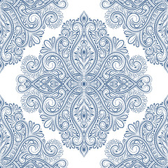 Beautiful blue and white floral seamless pattern. Vintage vector, paisley elements. Traditional,Turkish, Indian motifs. Great for fabric and textile, wallpaper, packaging or any desired idea.