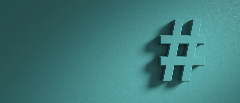 Hashtag sign on green wall background, banner, copy space. 3d illustration