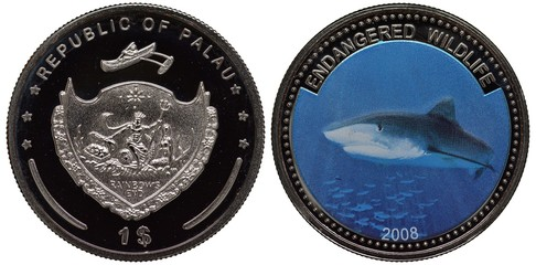 Palau Palauan coin 1 one dollar 2008, subject Endangered Wildlife, arms, shield with sea king holding trident, chest with coins and mermaid, shark,