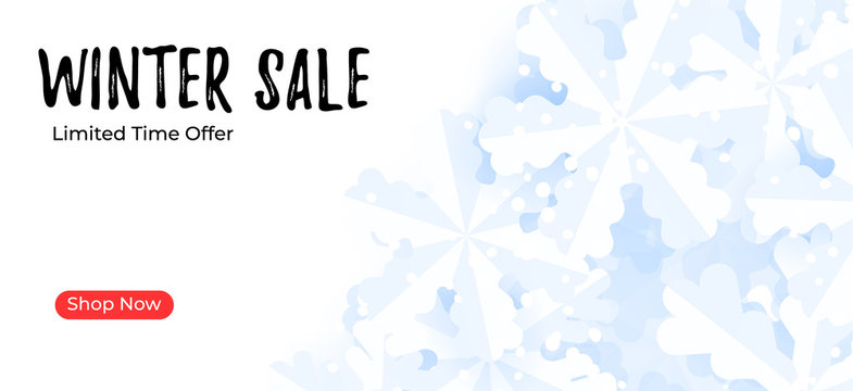Mailing banner template. Winter sale background with snowflakes.