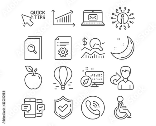Set of Check investment, Search files and Quick tips icons