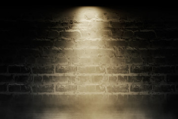 Brick wall background, street lights, neon light, smoke