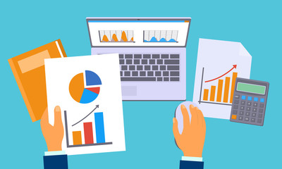 Accounting work graph concept background. Flat illustration of accounting work graph vector concept background for web design