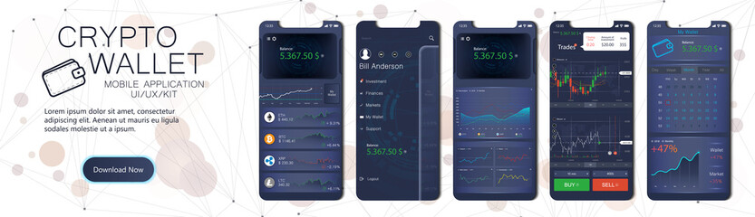 Crypto wallet mobile app template. User interface design with a disassembled interface, in the form of a collection of mobile screens. Crypto online currency payment and wallet concept. Vector set